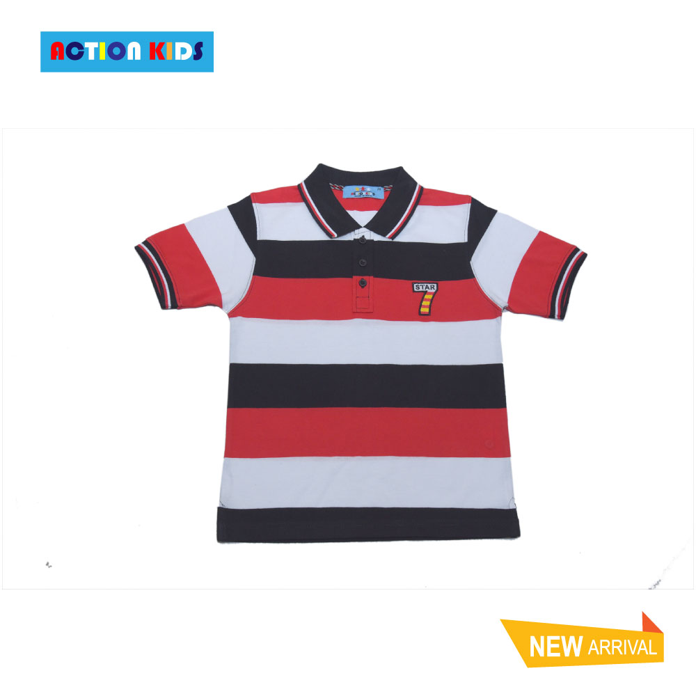 Boys Short-Sleeves Stripes Polo T-Shirt-Jk801