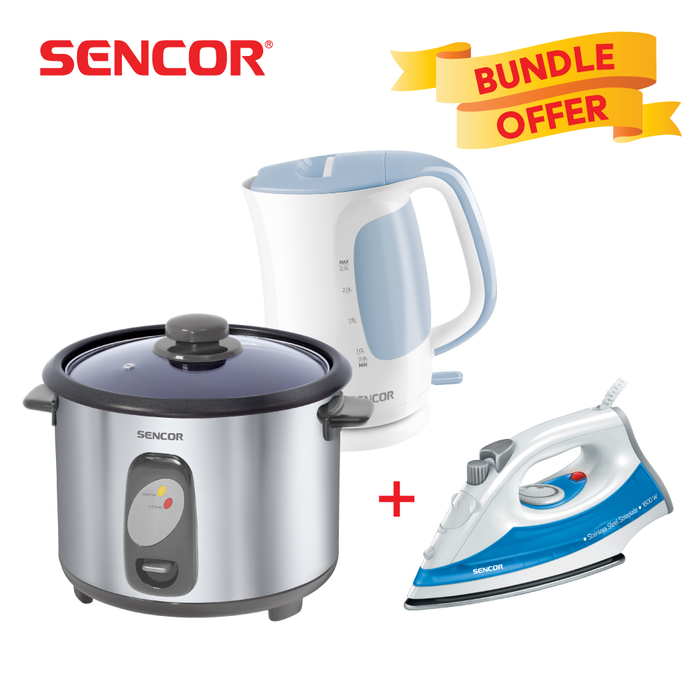 Sencor 2.5L Electric Water Kettle+1.8L Rice Cooker 700W+Steam Iron 1600W - Blue
